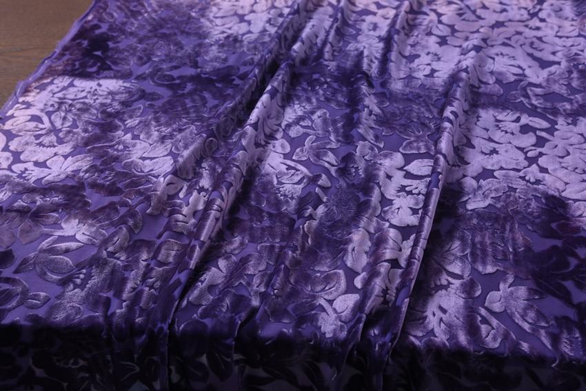 HH фиолетовая синяя очень мягкая Вельветовая драповая ткань ажурная шелковая для