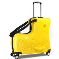 Дети прокатки Чемодан Spinner многофункциональный творческий тележка дети чемодана колеса Дорожная сумка студент школьная сумка