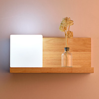 Modern Chinese led wall lamp creative bedside hotel project wall lamp solid wood plain bedroom