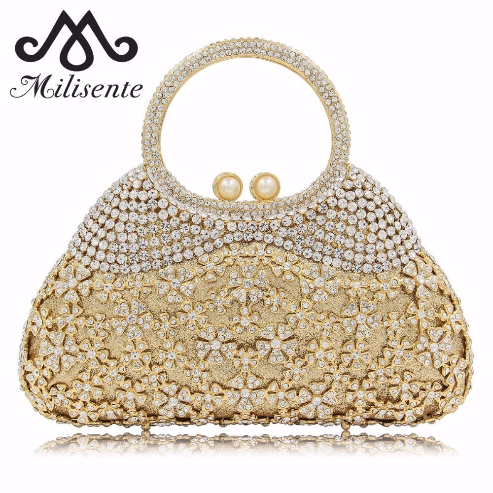 Milisente Flower Crystal Evening Bags Women Party Purses Special Design Clutch Female Luxury Wedding Bag colourful bird women evening luxury bags crystal clutches laides evening bag female party hard case bags wedding clutch purses
