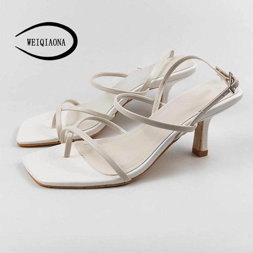 WEIQIAONA Genuine Leather Women's Shoes Thin Heel Square Head Thin Strap Sandals Women's Sandals