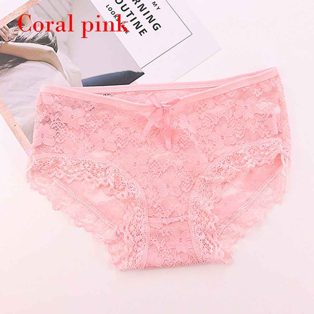 d37e12faa055 ... Women Panties Low Waist Hollow Lace Floral Cotton Crotch Full Briefs  Breathable Transparent Bow Lingerie Female ...