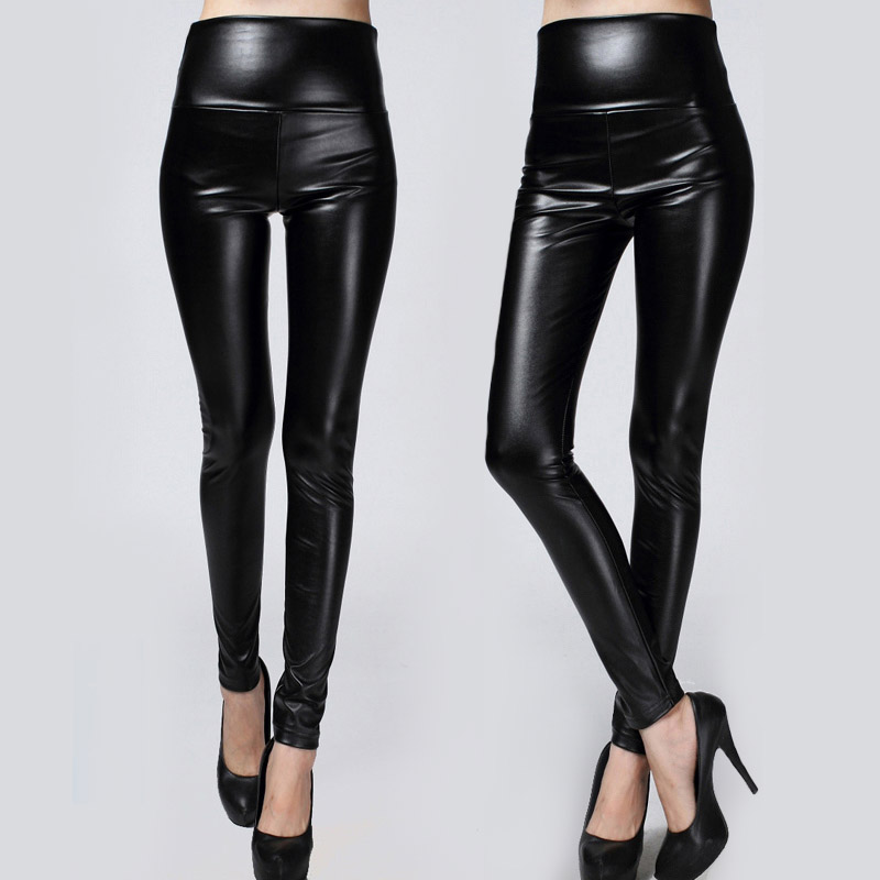 2017 New Winter Thickened Leggings Skinny Pants Women Black Leather Warm PU Pants waist high trousers High Quality Big Size