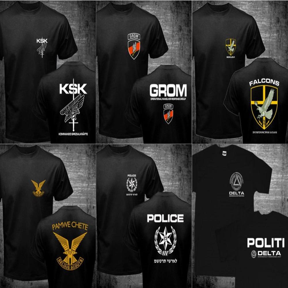 Mens Germany KSK Norway Norwegian Israel Rhodesian Zimbabwe SPQR Roman Rome JW GROM Poland Serbia Police Special Forces T Shirts