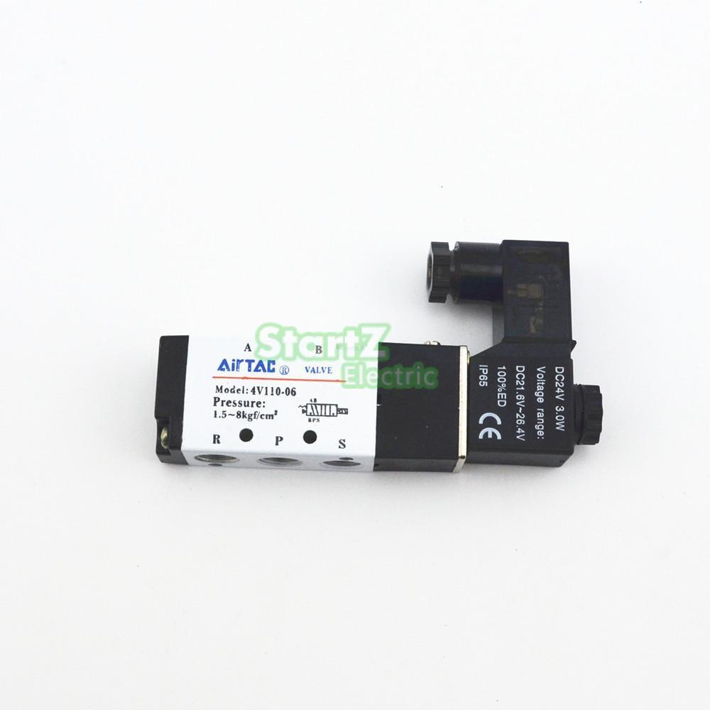 AIRTAC 4V110-06 5 Way 2 Position 1/8 Pneumatic Solenoid Valve DC 24V DC 12V AC 110V AC220V