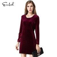 Dress Women Clothes Autumn Winter S M L Long Sleeve Dress Vintage Solid Warm Velvet Dress