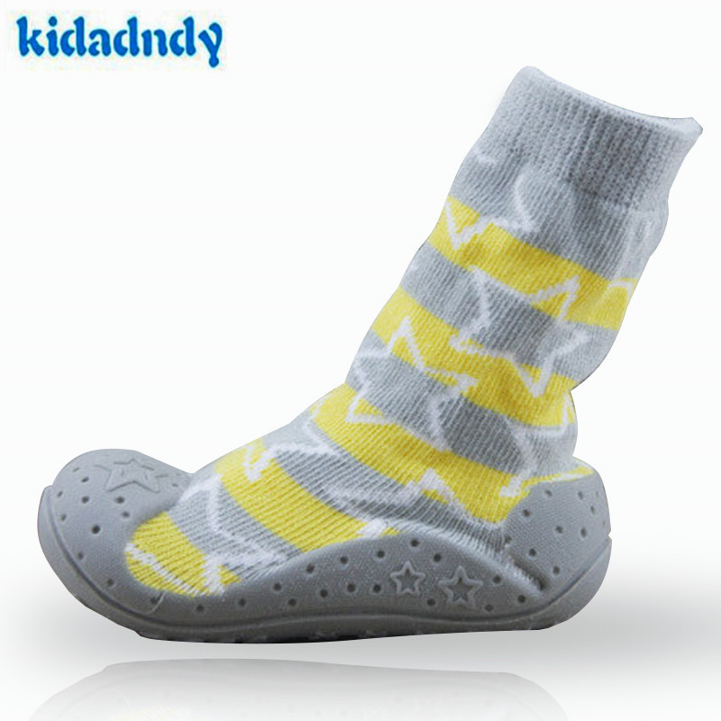 Nyfødte Anti Slip Baby Sokker Med Gummi Soler For Barn Småbarn Sko First Walkers Bomull Baby Boy Girl Socks WS927YD