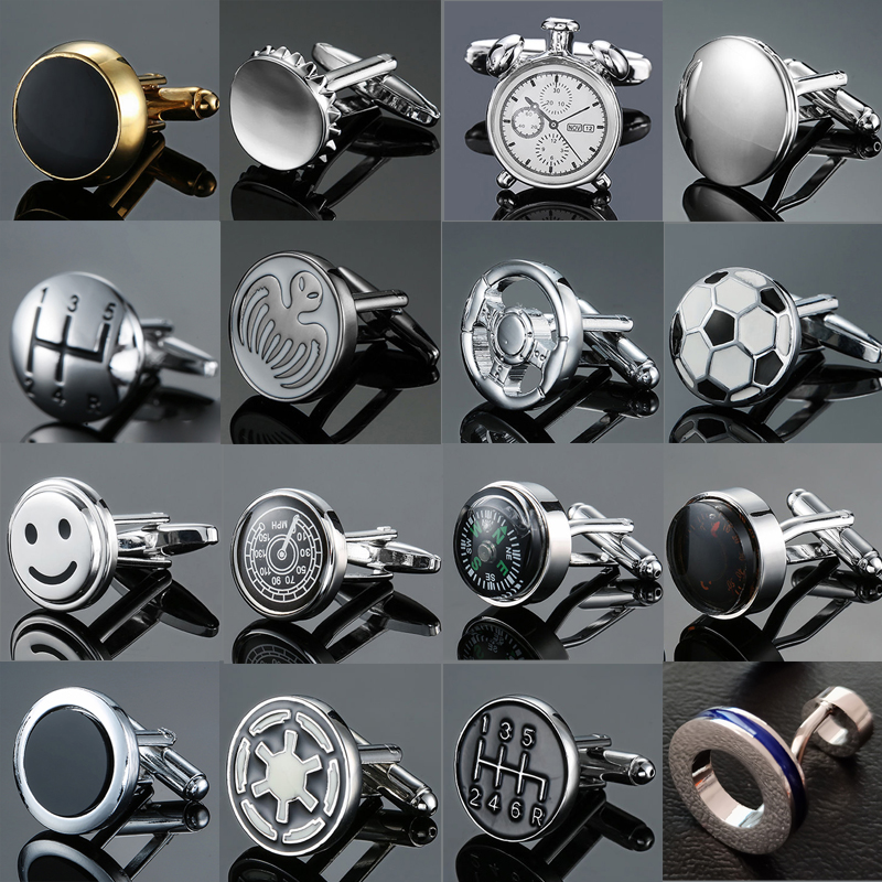 High Quality Copper Fashion Men's French Shirt Cufflinks High Grade Round Design Car Stall Speedometer Compass CuffLinks