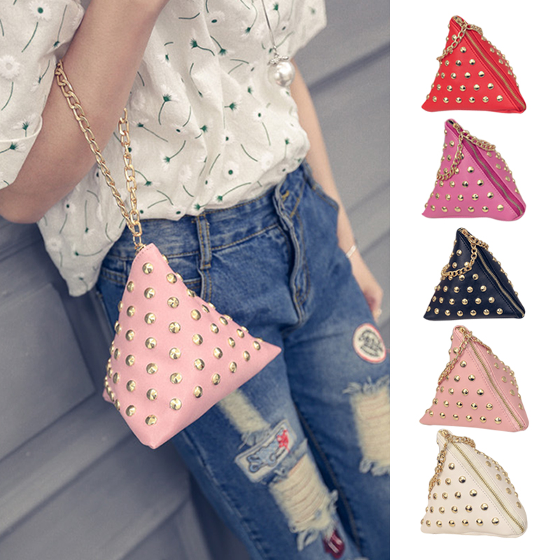 Cute Little Triangle Rivet Clutches Small Mini Coin Chain Hand Bags PU Leather Bag 88 LBY2017