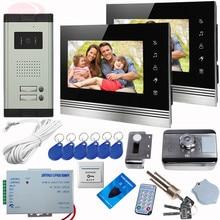 7Inch TFT Video Doorphone Door Control With Rfid Unlock Electronic Lock Color Video Cameras For Video Doorphone 2 Touch Buttons