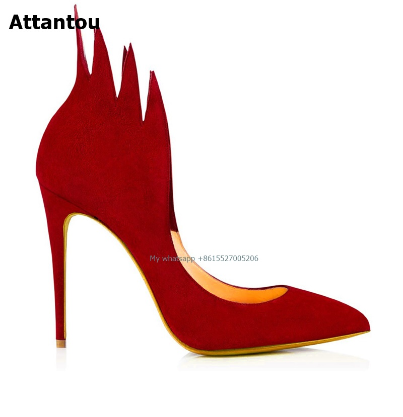 Suede flame Women High Heel Boots Ladies Pointed Toe Heel Wine Red Party Wedding Shoes Stiletto Pumps Shoes shoesofdream ladies high heel closed pointed toe solid plain pumps decoration handmade for wedding party dress stiletto shoes