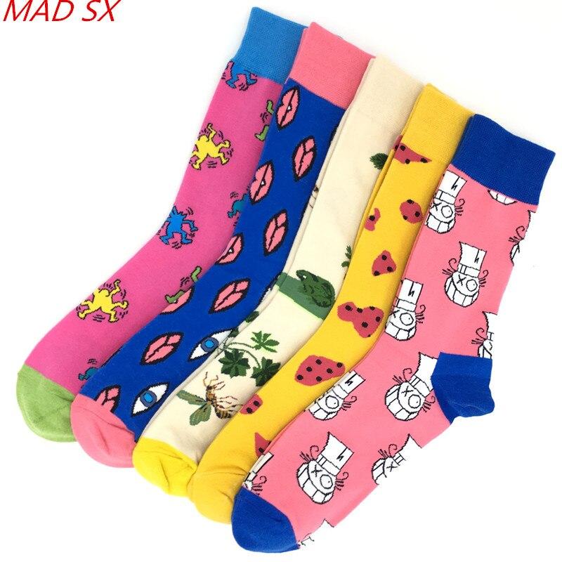Men's Socks Frank 5 Pairs/lot Men Socks Combed Cotton Colorful Novelty Crew Funny Happy Socks For Men And Women Casual Dress Socks Wedding Gift