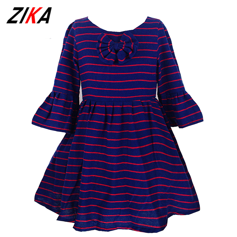 ZiKa Baby Girl Dress Long Sleeve Kids Striped Bowknot Dresses For Girls Clothes Children Clothing Kids Shirt Dress 2-10 Years new baby girls clothes fashion style dress for girl polka dot dresses white bowknot shirts children clothing set girls costume