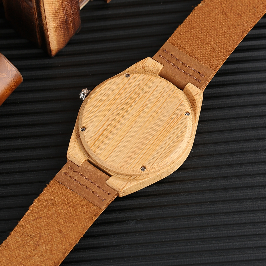 SUPER DAD Wood Watch Simple Bamboo Male Clock Casual Genuine Leather Band Men's Quartz Wristwatch Top Gifts for Dad Father's Day 2017 (12)