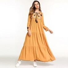 9bebb27a183 Daatthird Embroidery Middle East Women Abaya Long Sleeve Maxi dresses  maternity Dress