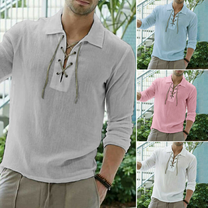 New Men's Linen Long Sleeve Slim Henley Shirt Summer Cool Loose Casual Shirts Breathable Muscle Tee Tops Hot