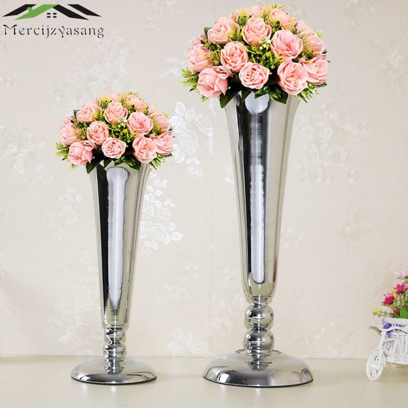 10pcslot Silver Flowers Vases For Wedding Flower Vase Table