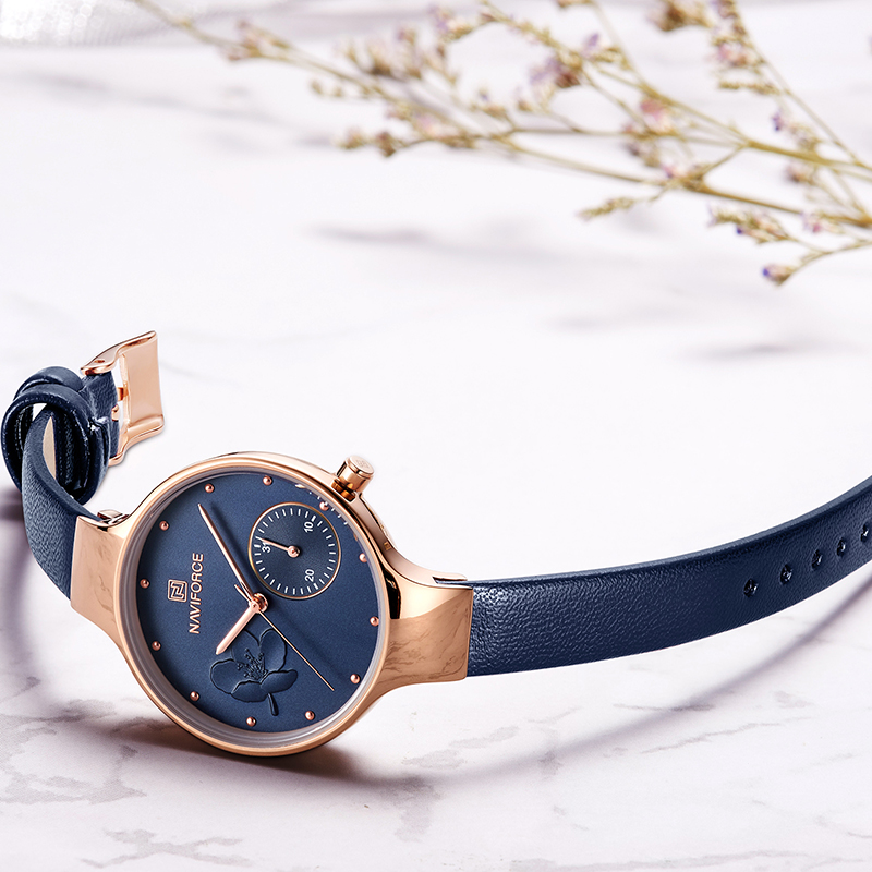 NAVIFORCE Women Fashion Blue Quartz Watch Lady Leather Watchband High Quality Casual Waterproof Wristwatch Gift for Wife 2019 3