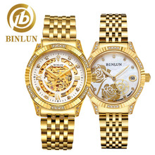 BINLUN 2019 18K Gold Luxury Automatic Couple Watches Elegant Skeleton Mechanical Watch Diamonds Dial Fashion