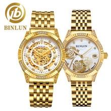 цены BINLUN 2019 18K Gold Luxury Automatic Couple Watches Elegant Skeleton Mechanical Watch Diamonds Dial Fashion Watches