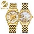 Binlun 2019 18 k ouro luxo automático casal relógios elegante esqueleto relógio mecânico diamantes dial relógios de moda