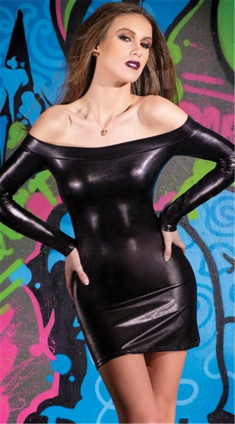 Buy ENGAYI Brand Women Fashion Faux Leather Latex Dress Lenceria Sexy Underwear Sexy Costumes erotic lingerie Porn Nuisette A1037