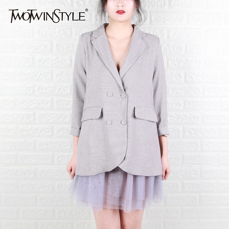 TWOTWINSTYE Spring Solid Mesh Patchwork Women Blazer Lapel Long Sleeve Button Big Size Female Coat Fashion 2019 Casual New