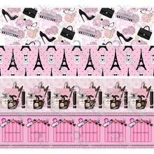 Дизайн, розовый флакон для парфюма, напечатанная корсажная лента, 50 ярдов, подарочная упаковка, сделай сам, банты, ленты на Рождество и свадьбу