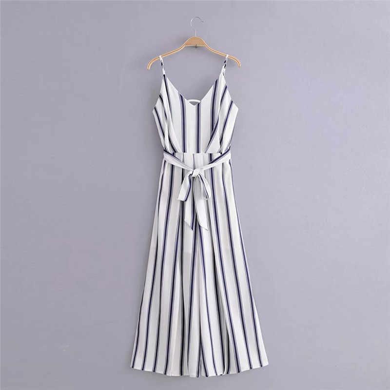 2019 Summer Female Jumpsuit New Women Fashion Wild Slim Slimming High Waist Split Jumpsuit Striped Ladies Straps Jumpsuit WIN851