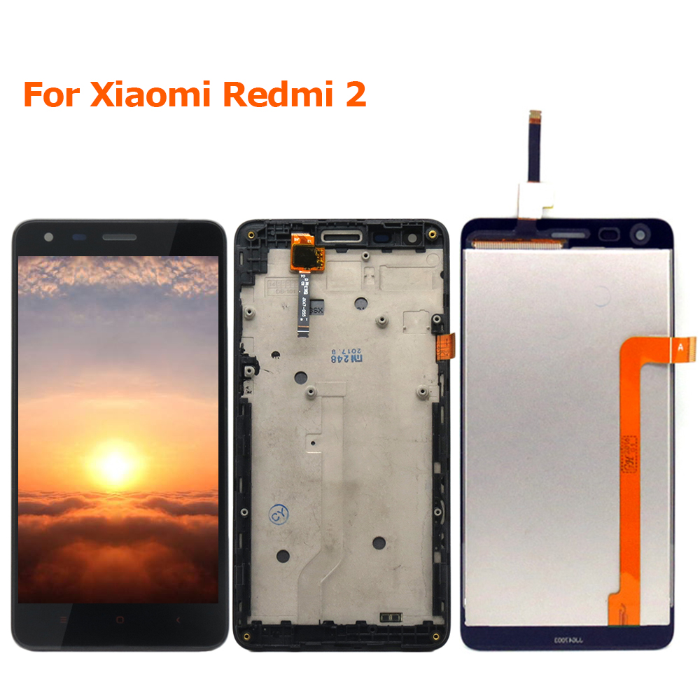 For Xiaomi Redmi 2 LCD Display Digitizer + Touch Screen With Frame Replacement Redmi 2 Pro Prime 2A Phone Parts With Free Tools