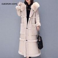 Осенне-зимнее пальто из овечьей шерсти для женщин большие размеры корейский стиль большой меховой воротник выше колена искусственная кожа ...