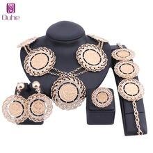Модные африканские бусы ювелирный набор золотой цвет кристалл