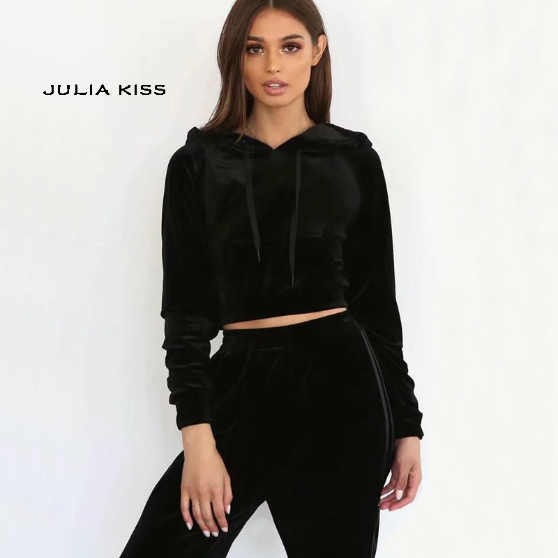 UK 2PC Womens Contrast Crop Top LoungeWear Sweatshirt Joggers Tracksuit Co-ord