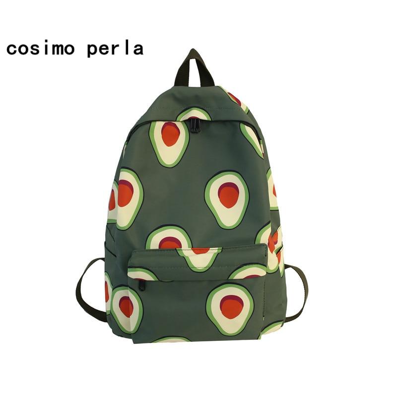 Cute Avocado Backpack Nylon Shoulder Bag Fruit Printed Women Bookbag School Bagpack For Teenagers Girl Strawberry Mochilas Mujer
