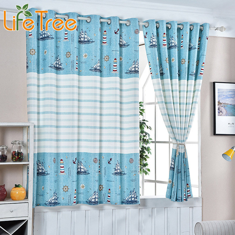 Blue Sea And Boats Printed Boys Curtain For Kids Bedroom Children Room Window Short Curtain