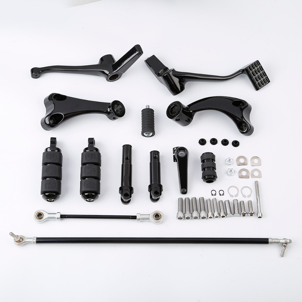 Forward Controls Complete Kit with Pegs Levers Linkages For Harley Sportster 883 1200 XL Iron 2004-2013 Black chrome motorcycle
