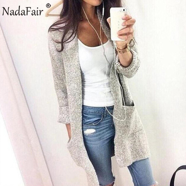 Nadafair s-5xl plus size casual long cardigans women winter clothes pockets loose long knitted sweater coat pull femme hiver