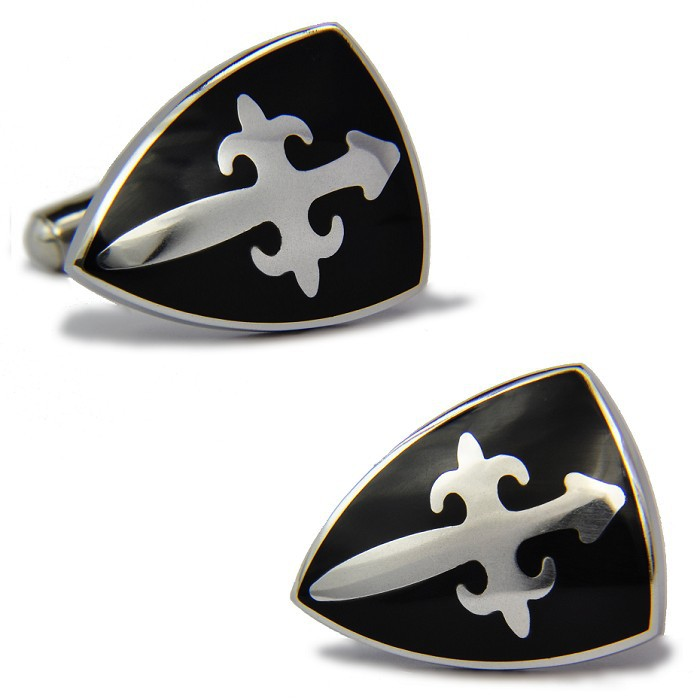 Newest Formal Occasion Business Men Cufflinks Black Big Shield Cuff Links For Party Mahogany Shirt Sleeve Buttons Wedding Gifts