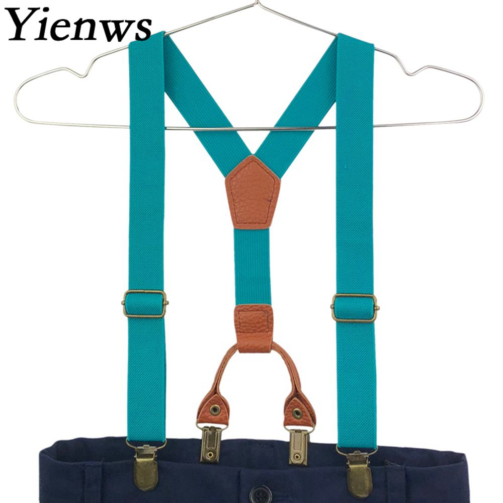 Yienws Girls Kids Suspenders 4 Clip Pants Elastic Suspenders For Boys Children Strap Candy Color Pink Navy YiA116