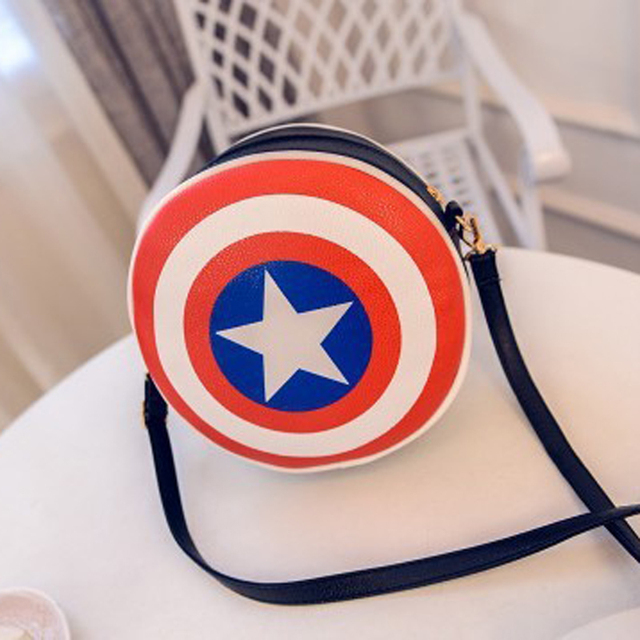 2016 Fashion Women Bags Black Red Captain America Shield Pu Leather Round Handbags For Ladies New Style Shoulder Crossbody Bag