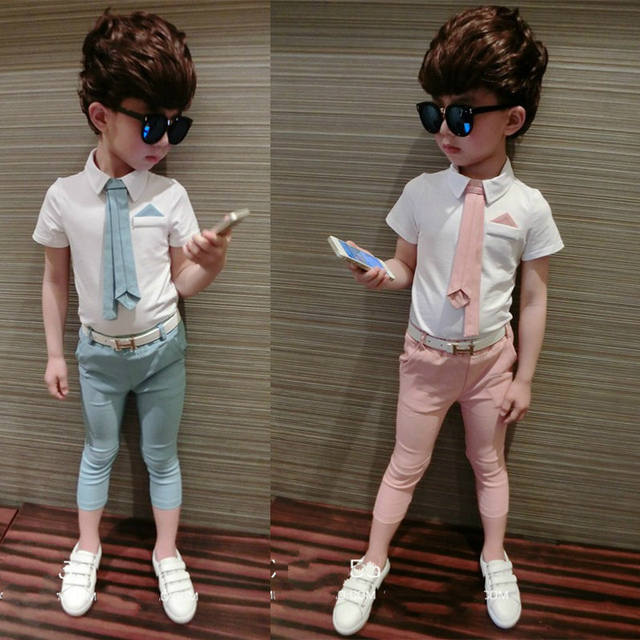 New  Childrens Clothing White Blouse + Pants Kids Clothes Boys  Vetement Garcon Marque  Kids Clothes 6BET058