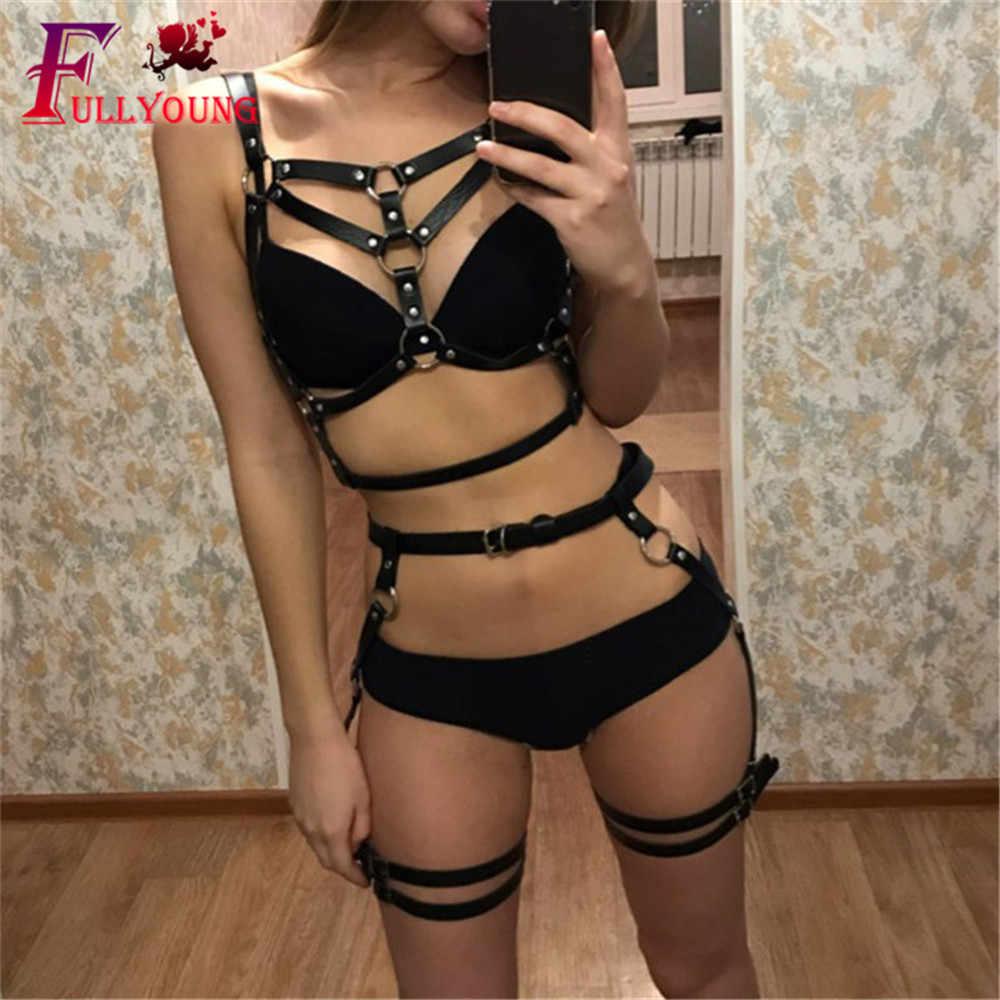 Fullyoung Sexy Lederen Harnas Bondage Been Kous Riem Ondergoed 2 Delige Set Vrouwen Gothic Kousenband Body Cage Taille Vrouwelijke Riemen