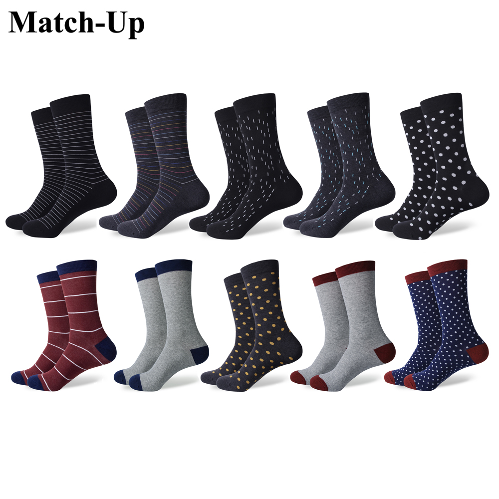 Match-Up Men's Thin Stripes Minimalist Business Style Cotton Socks(10 Pairs/lot)