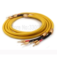 pair Japan Accuphase OFC pure copper audio speaker cable with 24K gold plated banana plug