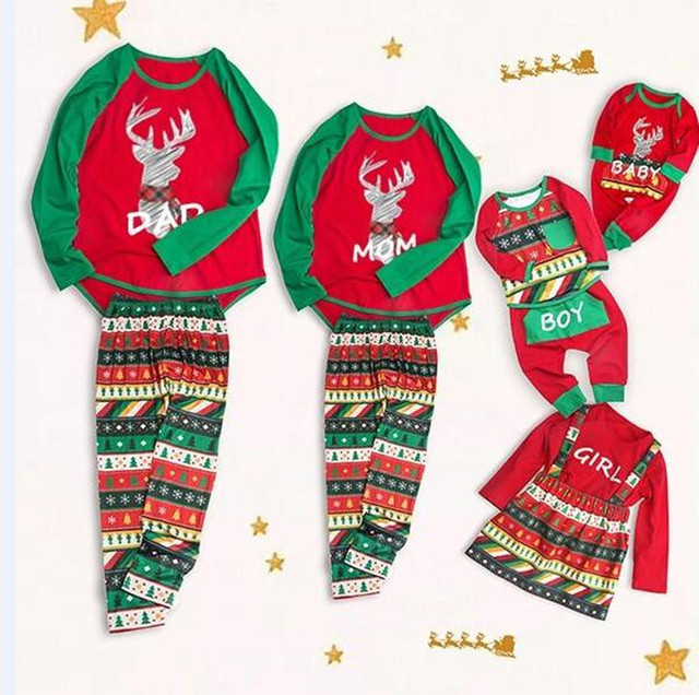 be005cc0356e Christmas Mom Dad Baby Boy Girl Family Matching Sets X mas Pajamas ...