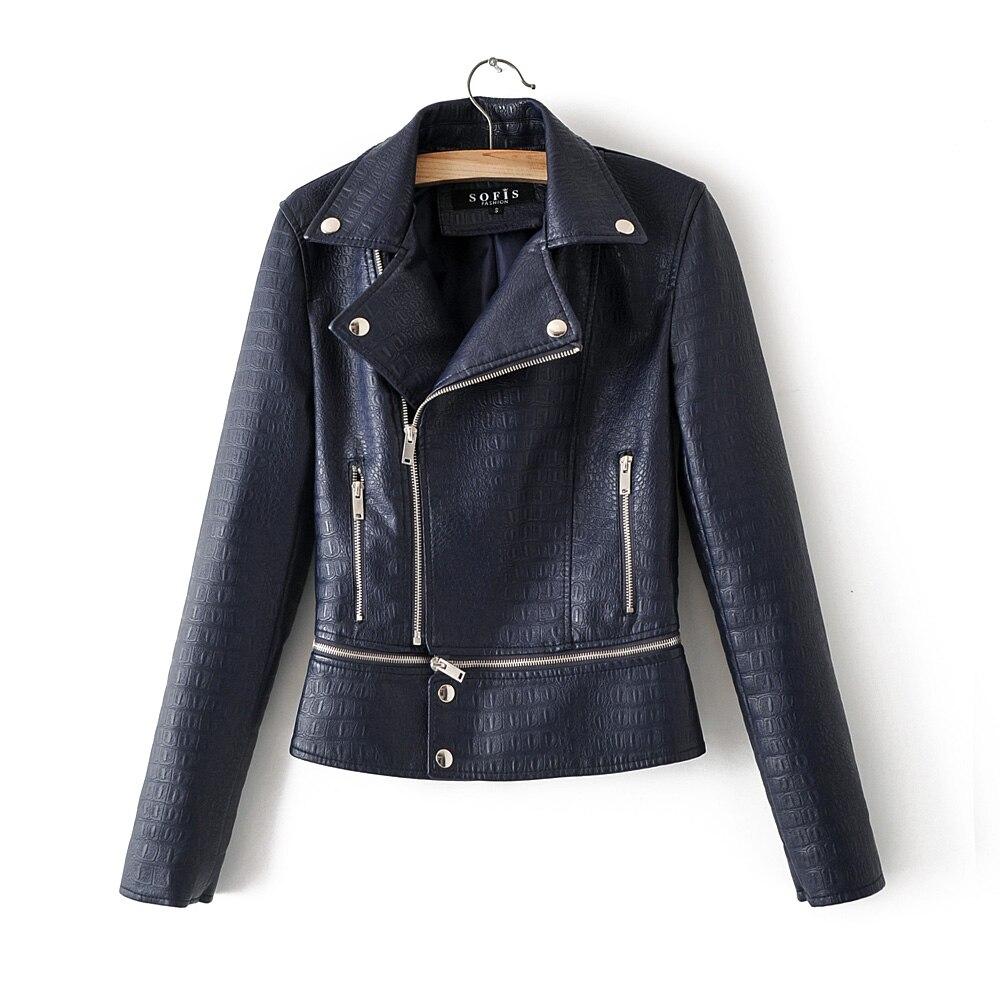 2019 New Arrive Women High Luxury Blue Faux   Leather   Jackets and Coats Lady Autumn Winter Spliced Biker Snakeskin Outerwear