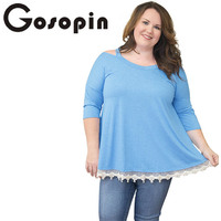 Gosopin Plus Size Tee Shirt Femme Fashion Women Long Sleeve Autumn O Neck Top Casual Cold