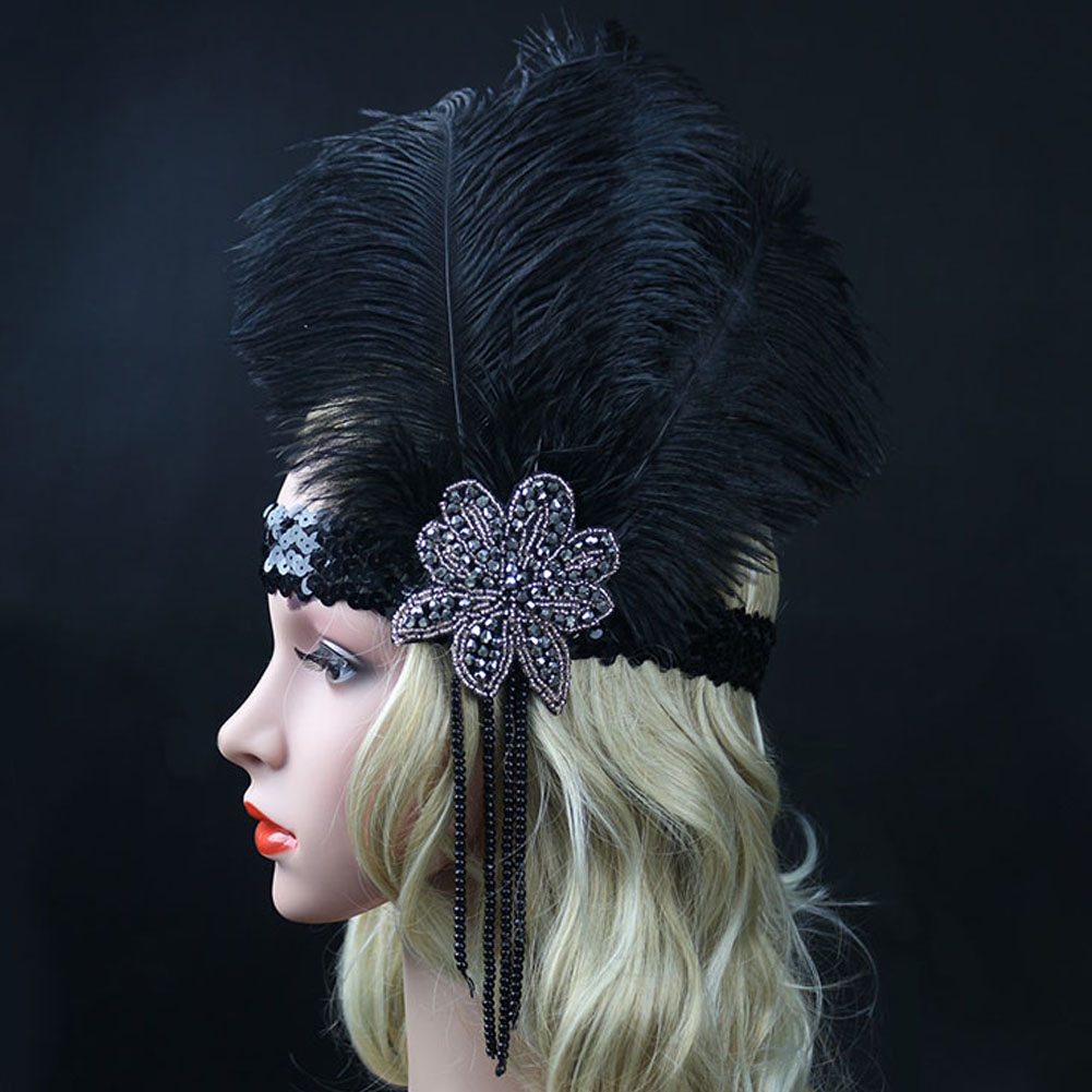 Women Retro Black 1920s Indian Style Feather Plume Headband with Sequin and Rhinestone Headwear Flapper Bulk Pack
