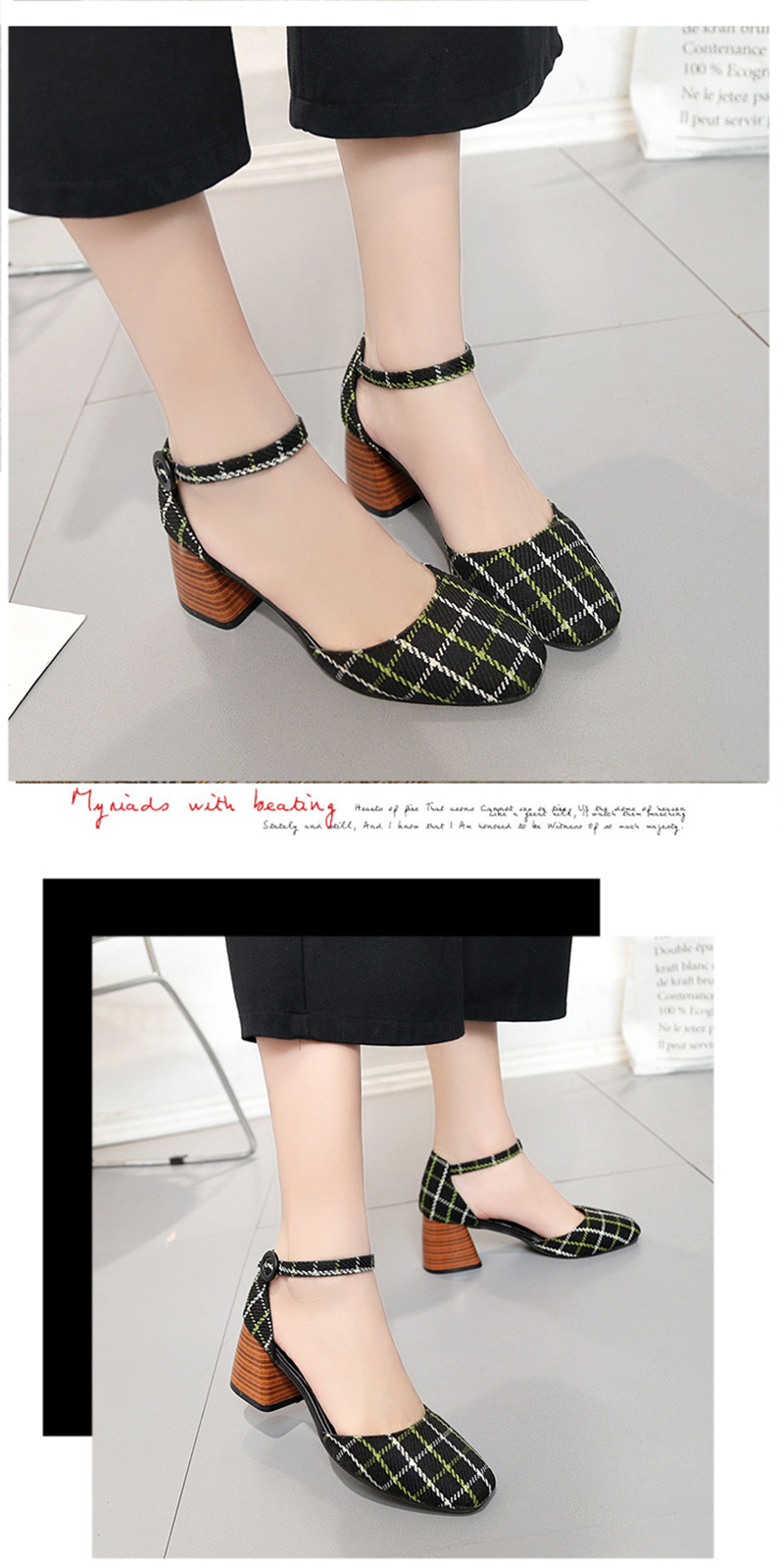 High Heels Shoes Women Pumps Square Toe Summer Sandals Thick Heels Plaid Casual Good Quality Female Office Shoes Comfortable 10