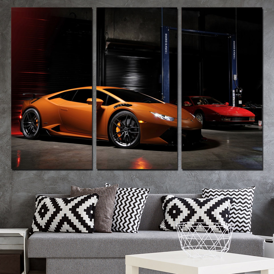 3 Panels Canvas Art Lamborghini Luxury Car Home Decor Wall Art Painting Canvas Prints Pictures For
